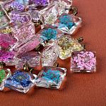 Квадратные литые стеклянные подвески, с сухих цветов внутри, античная бронза, 27x20x10~11 мм, отверстие : 4.5x2.5 мм