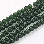 ガラスビーズ連売り, ラウンド, グリーン, 直径約8mm, 穴:1mm、約42個/連, 14
