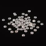 Tapas de cuentas de latón plateado color plata, multi-pétalo, aproximamente 6 mm de diámetro, 1.5 mm de espesor, agujero: 0.8 mm