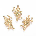 304 Stainless Steel Pendants, Matte, Angel/Cupid/Cherub, Golden, 29x16.5x5mm, Hole: 0.8mm