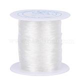 伸縮性のあるストレッチポリエステルクリスタルのひもコード, ジュエリー作りブレスレットビーズ糸, 透明, 0.7mm, 約100m /ロール