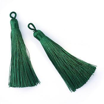 Полиэстер кисточка большие подвески украшения, темно-зеленый, 80~90x8.5~9 мм, отверстие : 4x6 мм