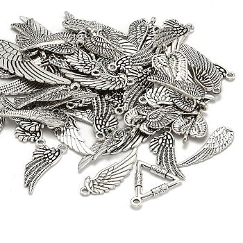 Сплавочные подвески тибетского стиля, крыло, античное серебро, 24~56x9~21x1~2 мм, отверстие : 1.5~5x2~3 мм, Около 30~35 шт / 100 г