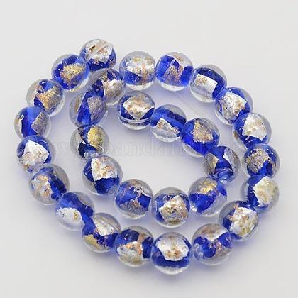 手作り金箔と銀箔のガラスラウンドビーズ連売りFOIL-L002-A-M-1