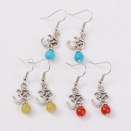 Tibetan Style Ohm Dangle EarringsEJEW-JE01395-1