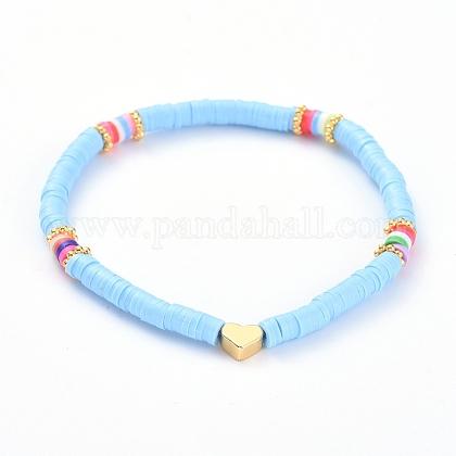 Handmade Polymer Clay Heishi Bead Stretch BraceletsBJEW-JB05077-05-1