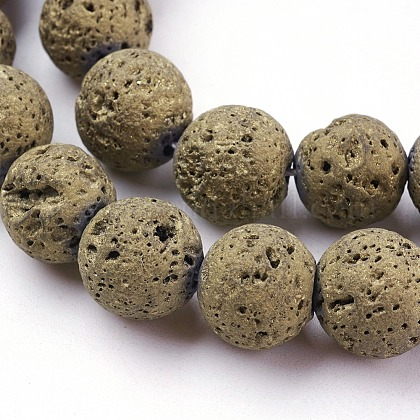 Vacuum Plating Electroplated Natural Lava Beads StrandsG-K259-58-12mm-08-1