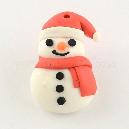 手作りクリスマススノーマンポリマー粘土ペンダントCLAY-R060-45-1