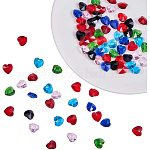 PandaHall Elite 70pcs 7 Mixed Color Faceted Heart Transparent Glass Charms Heart Beads for Pendant Bracelet Earring DIY Crafts Jewelry Dangle Making Findings Supplies, 10x10x5mm, Hole: 1mm