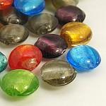 手作り銀箔ガラスビーズ, フラットラウンド, ミックスカラー, 直径約12mm, 厚さ8mm, 穴:1.5mm