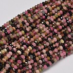 Faceted Rondelle Natural Tourmaline Bead Strands, 3x2mm, Hole: 1mm; about 180pcs/strand, 15.5