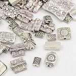 Antique Silver Mixed Rectangle Alloy Tibetan Style Beads, 8~25x5.5~18x2.5~8mm, Hole: 1.5~10.5mm