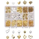 PandaHall Elite 150 pcs Alloy Heart Shape Pendants with Word for Jewelry Making, Golden/Silver, 15 Shapes