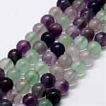 Natural Rainbow Fluorite Bead Strands, Round, 8mm, Hole: 1mm; about 48pcs/strand, 15''