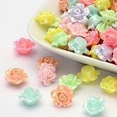 De color ab plateado opaco acrílico cuentas flor, color mezclado, 13x8mm, Agujero: 2 mm; aproximamente 1130 unidades / 500 g