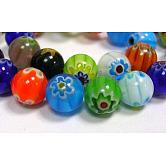 Cuentas hechas a mano de cuentas de vidrio Millefiori, sola flor, redondo, color mezclado, 6 mm de diámetro, agujero: 1 mm, 65 pcs / Hilo, 16 pulgada