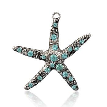 Alliage de style tibétain strass étoile de mer / pendentifs étoiles de mer, argent antique, aigue-marine, 57x55x6mm, Trou: 3mm