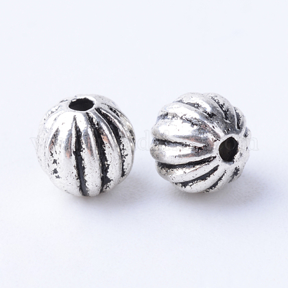 Tibetan Style Alloy Corrugated Beads X-TIBE-Q063-68AS-NR-1