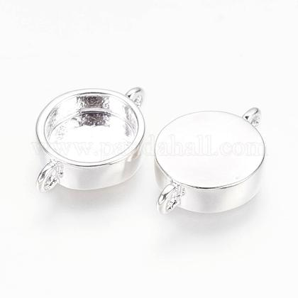 925 Sterling Silver Plated Brass Cabochon Connector Settings KK-K177-02B-S-1
