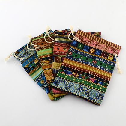 エスニックな布地ラッピングポーチ巾着袋ABAG-R006-10x14-01-1