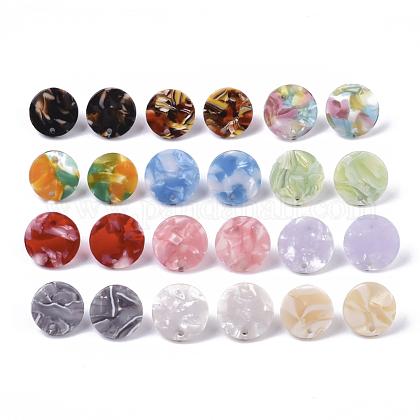 Fornituras de pendiente de botón de acetato de celulosa (resina)KY-R022-020-1