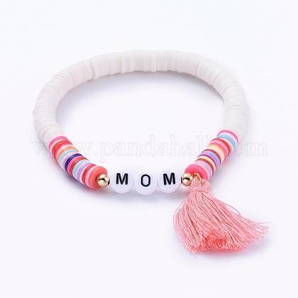 Handmade Polymer Clay Heishi Beads Stretch BraceletsBJEW-JB05086-04-1