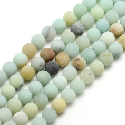 Frosted Natural Amazonite Round Bead Strands G-M064-6mm-07-1