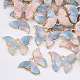 Alloy Pendants, with Cellulose Acetate(Resin), Butterfly, Light Gold, LightSkyBlue, 15.5x22x3mm, Hole: 1.8mm