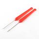 ホワイトゴールドトーンプラスチックハンドル鉄かぎ針編みフック針TOOL-R093-01-2