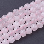 Natural Rose Quartz Beads Strands, Faceted, Round, Pink, 8mm, Hole: 1mm; about 24pcs/strand, 7.8