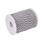 Round String Thread Polyester Cords, Twin Color, Black, 3mm, 25m/roll