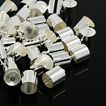 Silver Color Plated Brass Cord Ends, 14x10mm, Hole: 1mm; Inner Diameter: 9mm