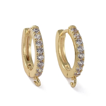 Brass Huggie Hoop Earring Findings, with Cubic Zirconia, Lead Free & Cadmium Free & Nickel Free, Long-Lasting Plated, Golden, 17x15x3mm, Hole: 1.2mm; Pin: 1mm