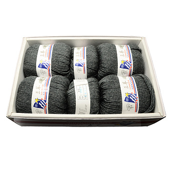 Baby Knitting Yarns, with Wool, Antistatic Fibre and Velvet, Gray, 2mm; about 100g/roll: 4rolls; 50g/roll: 2rolls, 6rolls/box