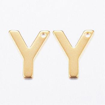 Encantos de 304 acero inoxidable, carta, encantos iniciales, letter.y, 11x6~12x0.8mm, agujero: 1 mm