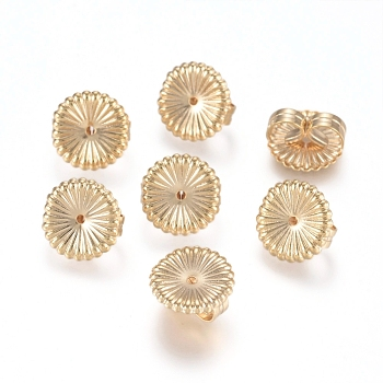 Brass Ear Nuts, Earring Backs, Flower, Real 14K Gold Plated, 9x4.5mm, Hole: 0.8mm