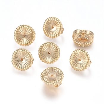 Tuercas de oreja de latón, pendiente trasero, flor, real 14k chapado en oro, 9x4.5mm, agujero: 0.8 mm