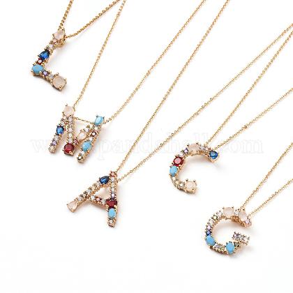 Alphabet Brass Pendants NecklacesNJEW-JN02584-1