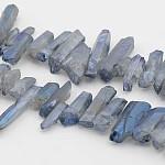 Electrolíticos naturales de cristal de cuarzo hebras de abalorios, pepitas, lightsteelblue, 13~38x6~14x6~10mm, agujero: 1 mm; 15.7