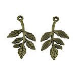 Tibetan Style Alloy Pendants, Leaf, Lead Free, Antique Bronze, 30x16x2mm, Hole: 1.5mm; about 869pcs/1000g