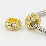 Alloy Rhinestone European Beads, Large Hole Beads, Golden Metal Color, Crystal, 11x6mm, Hole: 5mm
