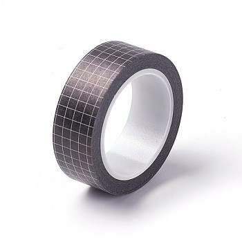 DIYスクラップブック装飾用マスキングテープ  グリッド模様  ブラック  15ミリメートル、約10 M /ロール