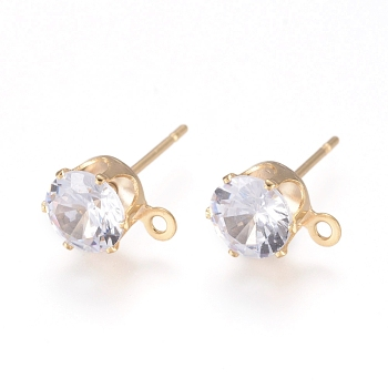 Brass Stud Earring Findings, with 316 Surgical Stainless Steel Pin, Cubic Zirconia and Loop, Long-Lasting Plated, Flat Round, Real 14K Gold Plated, Clear, 15.5x8x5.5mm, Hole: 1mm, Pin: 0.7mm
