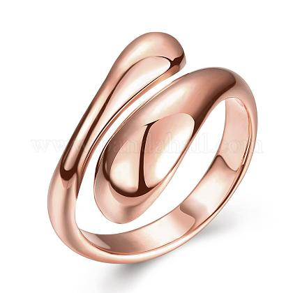 Real Rose Gold Plated Adjustable Brass Finger Rings for Women RJEW-BB07574-B-1