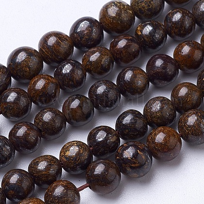 Natural Bronzite Beads Strands G-D855-12-6mm-1