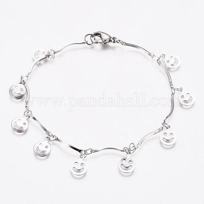 304 pulseras de acero inoxidable happy smile charmBJEW-G628-05P-1