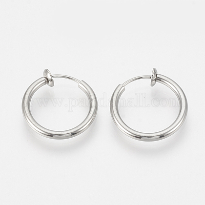 304 Stainless Steel Retractable Clip-on Hoop Earrings STAS-S100-03-1