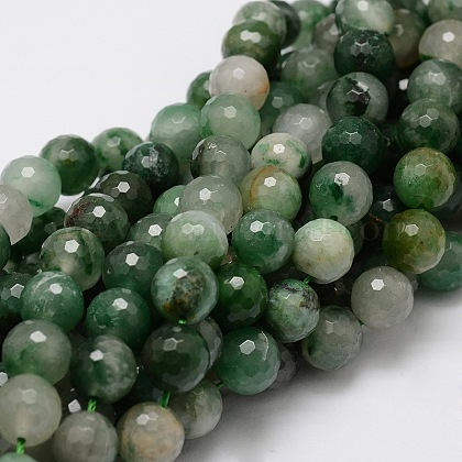Crisoprasa natural redonda facetada / hebras de cuentas de jade australianoG-L437-07-10mm-1