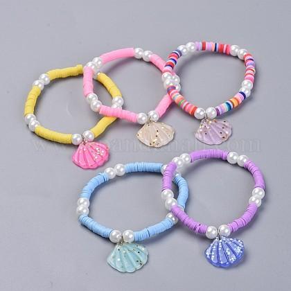 Environmental Handmade Polymer Clay Heishi Beads Kids Stretch BraceletsBJEW-JB04345-1