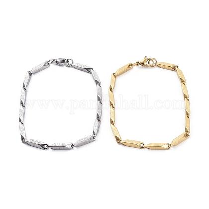 Unisexo 304 acero inoxidable pulseras de cadena de eslabones de barraBJEW-E372-05B-1